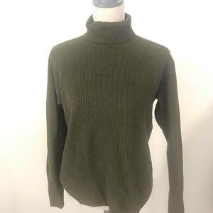 Eileen Fisher Olive Green 100% Wool TurtleNeck